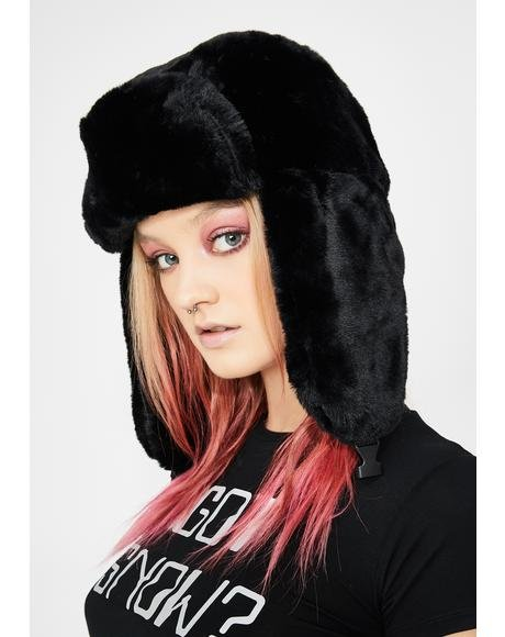 Chilling Fresh Powder Fur Trapper Hat