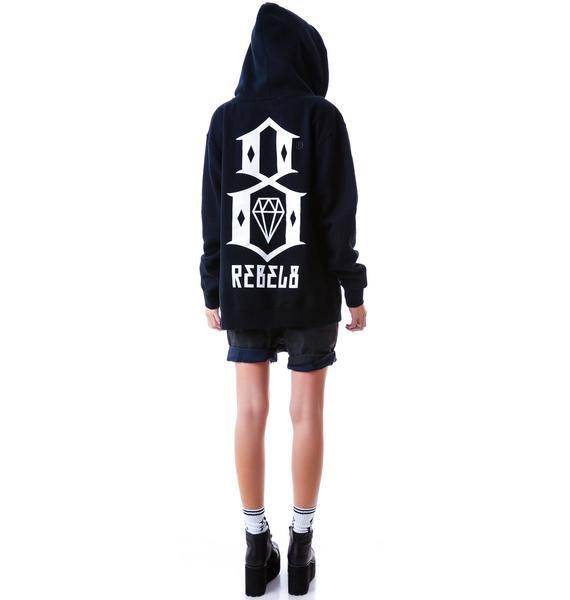 Rebel8 Logo Zip Mens Hoodie