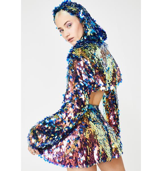 J Valentine Cosmic Ice Light Up Sequin Skirt