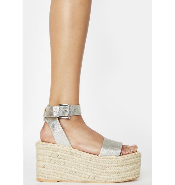 Public Desire Silver Saffy Espadrille Flatform Sandals