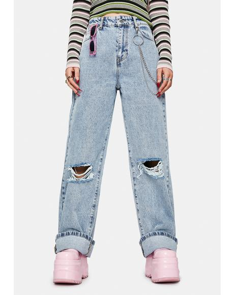 Angel Girl Wide Leg Denim Jeans
