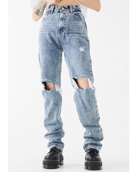 Mid Wash Long Straight Leg Jeans