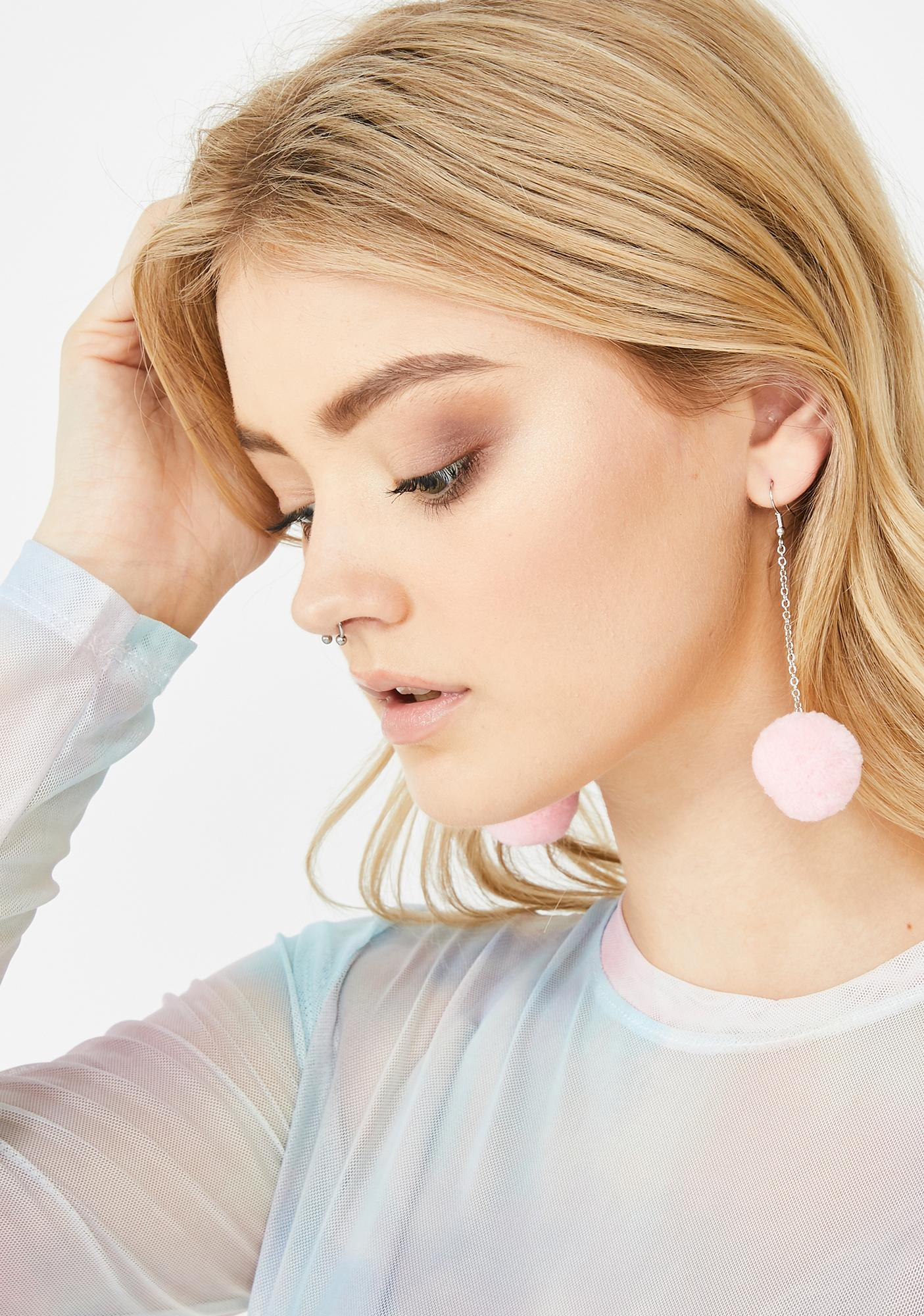 I Want Candy Puff Ball Earrings