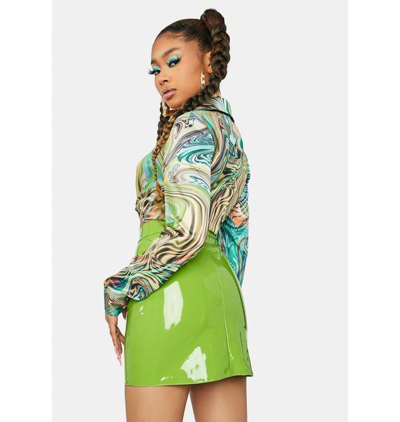 Lime Say Anything Babe Vinyl Mini Skirt