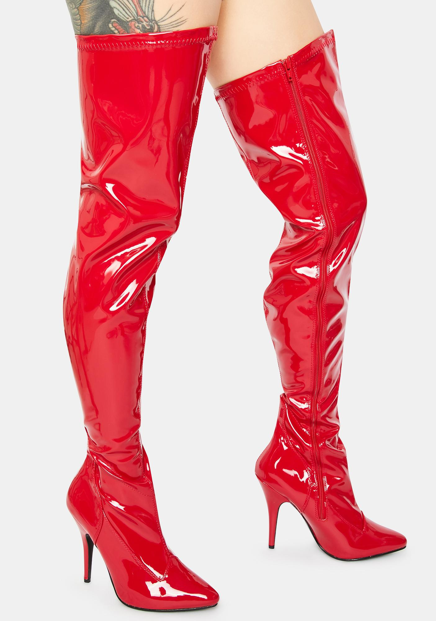 Pleaser What I Deserve Patent Thigh High Boots