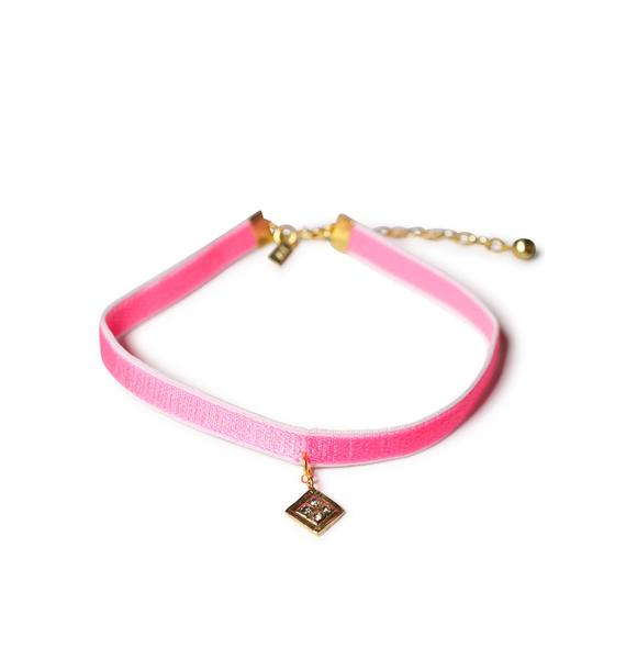 Vanessa Mooney Hot Pink Diamond Charm Velvet Choker