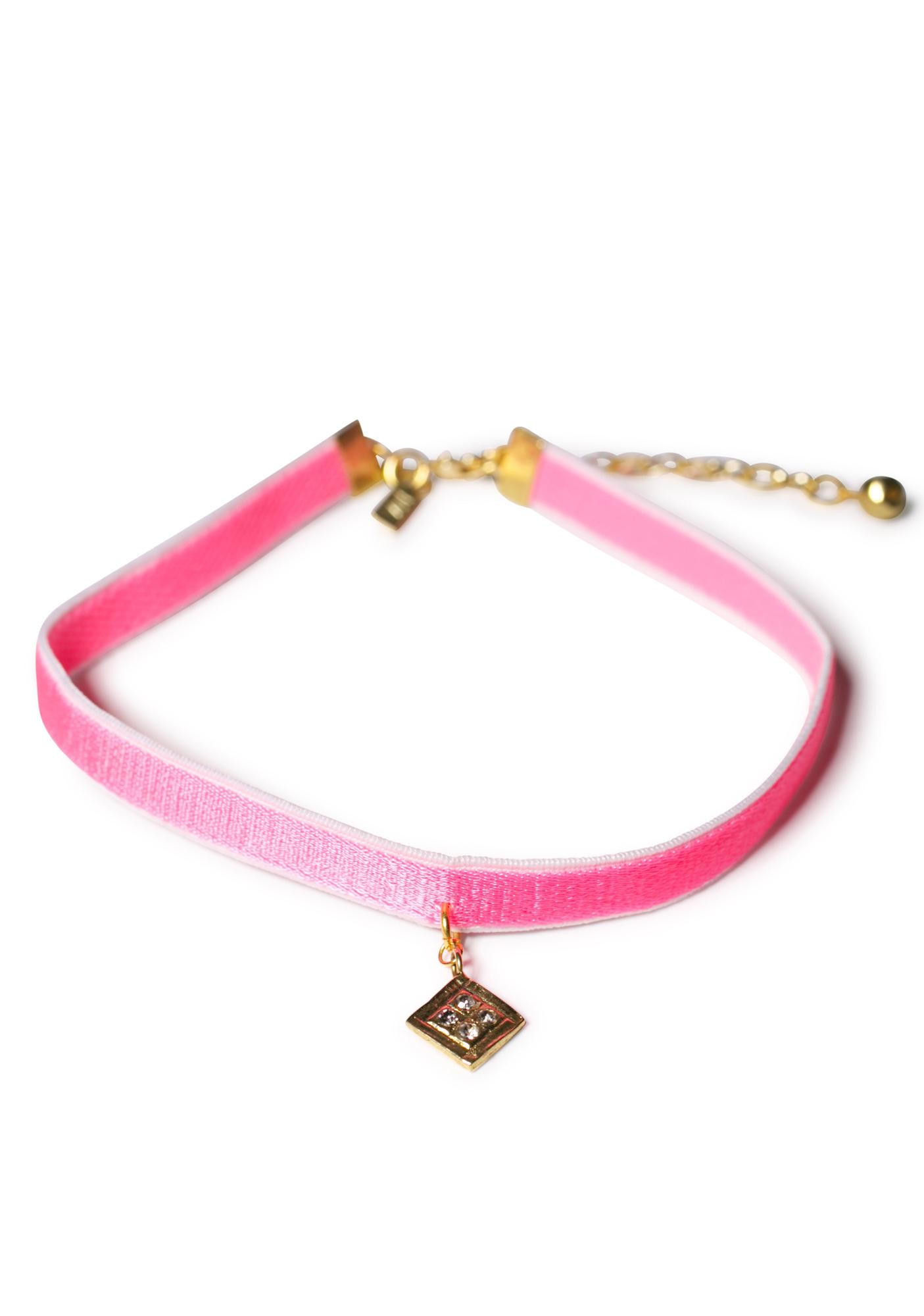 Vanessa Mooney Hot Pink Diamond Charm Velvet Choker