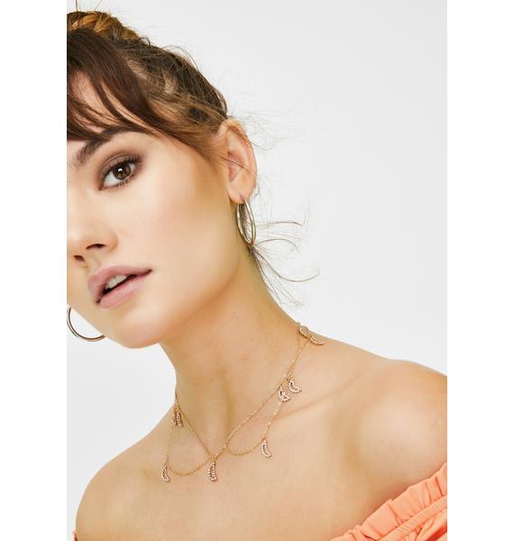 Moon Honey Rhinestone Necklace