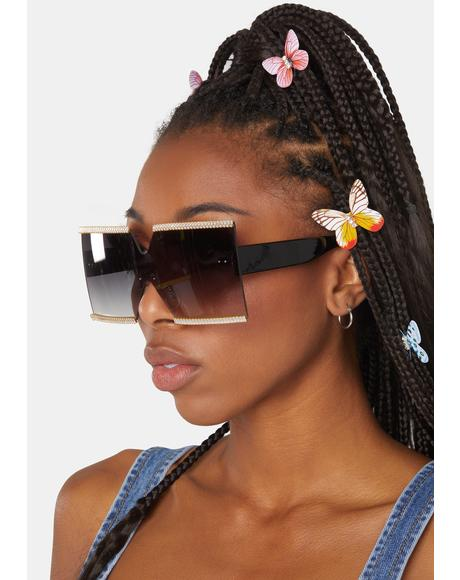 Night Shut Up 'N Listen Glitter Shield Sunglasses