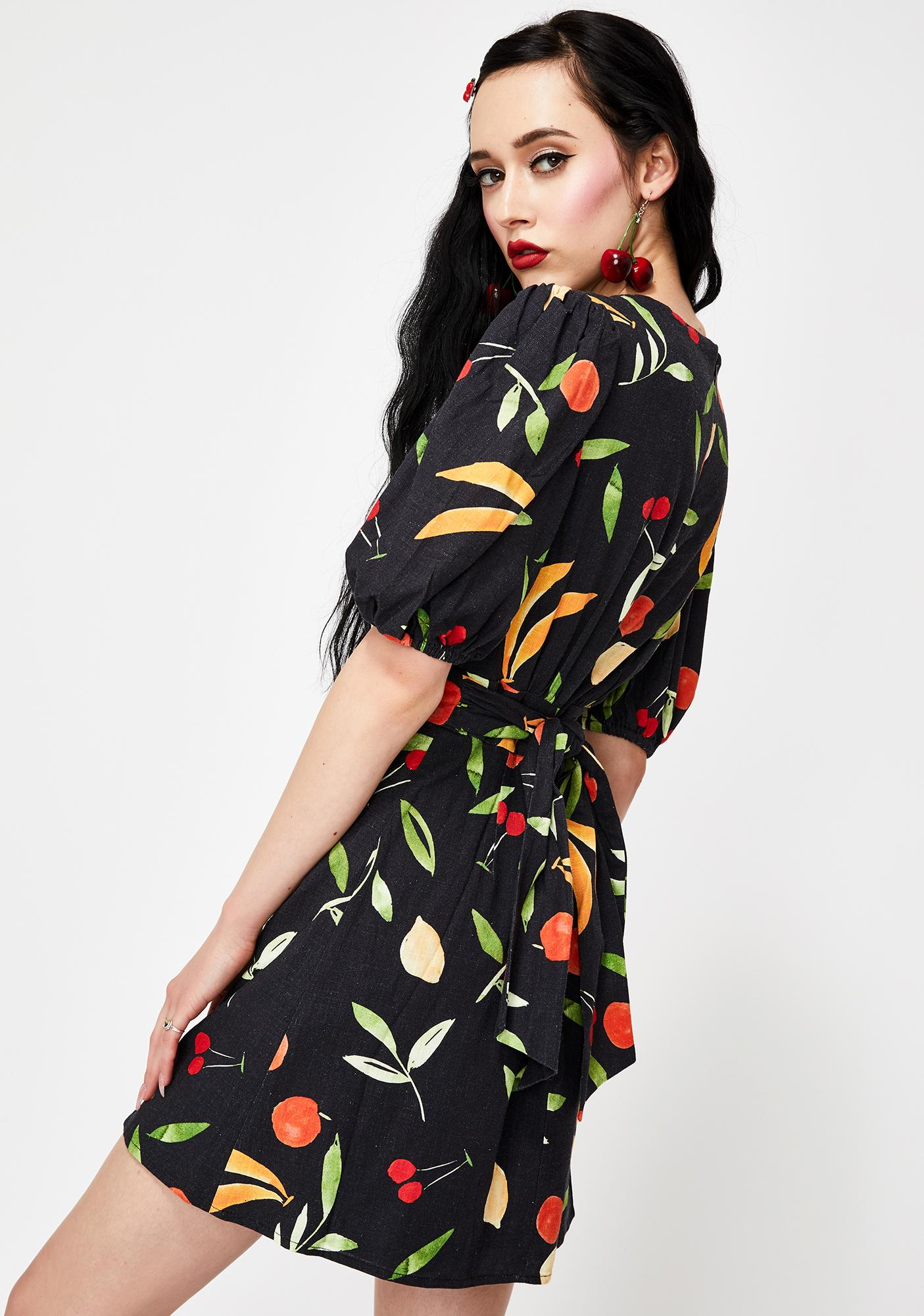 Finders Keepers Black Fruitbowl Calypso Mini Dress