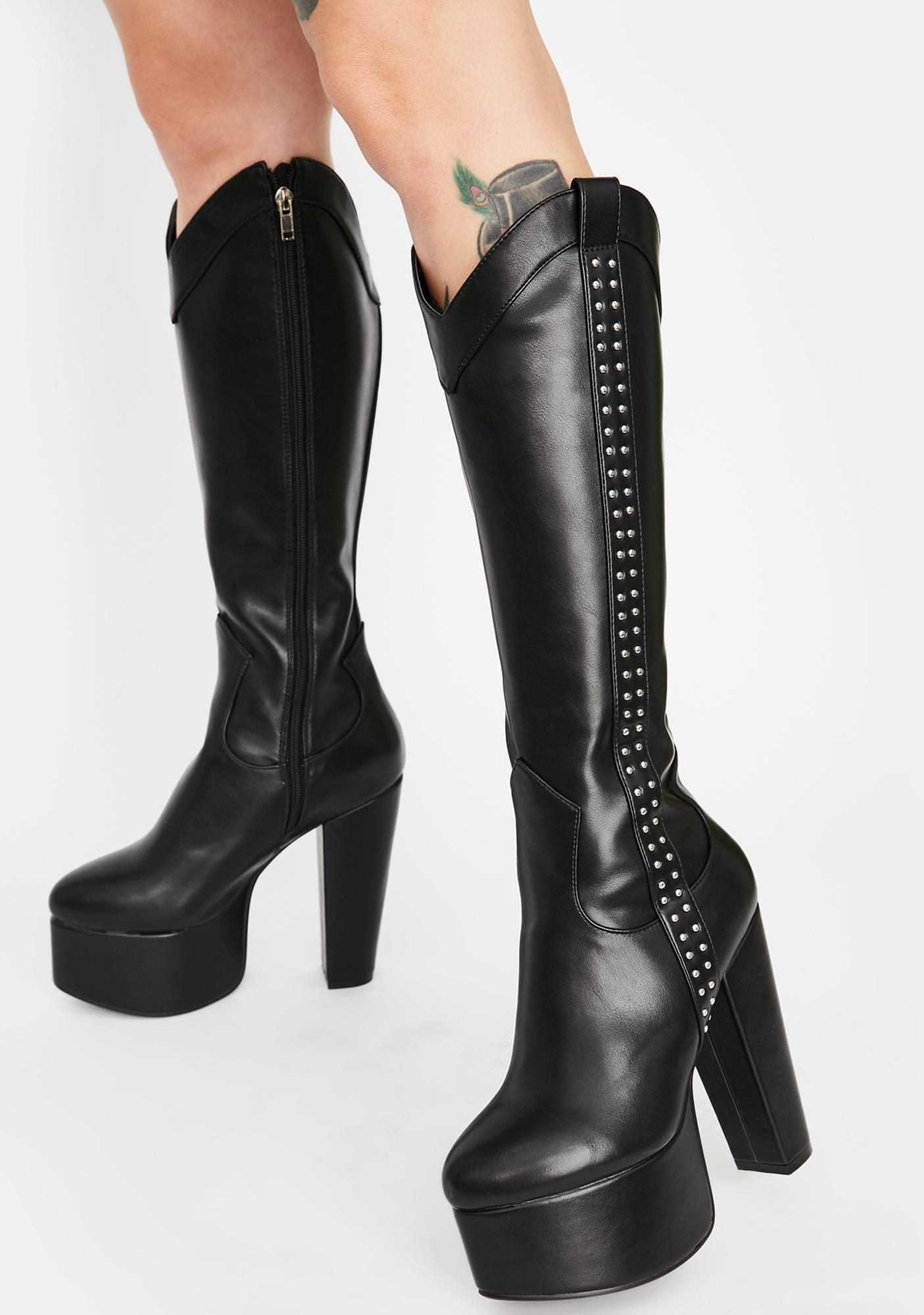 Lamoda Black Defeated Platform Boots