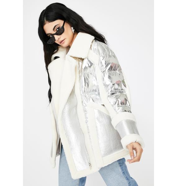 ZEMETA Silver Shearling Puffer Jacket