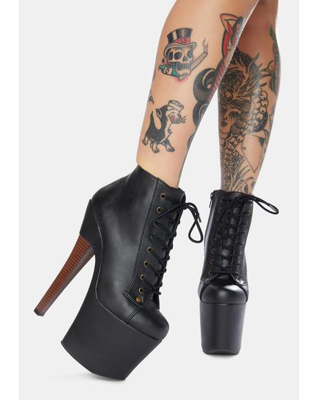 Turning Heads Lace Up Heeled Booties