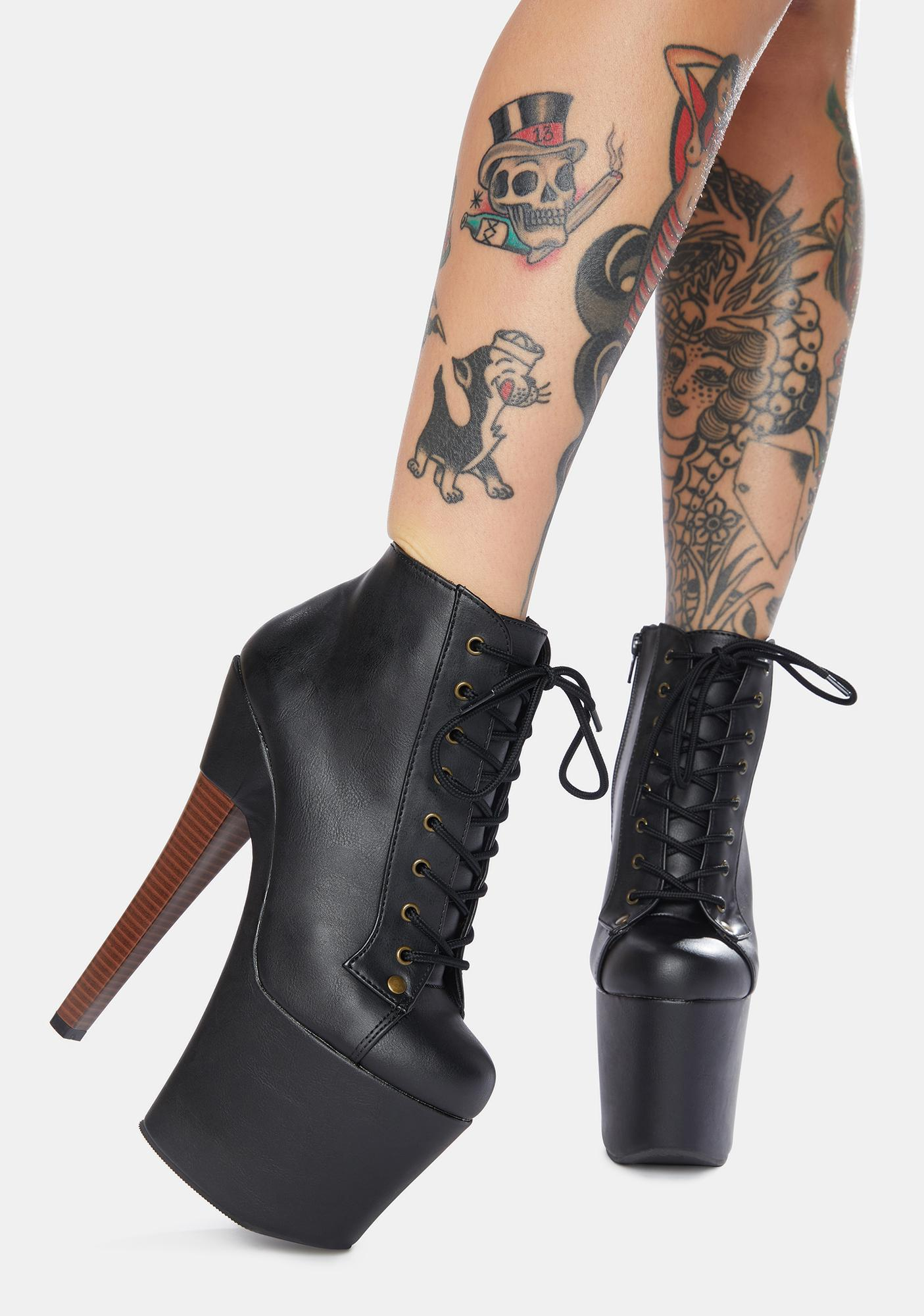 Pleaser Turning Heads Lace Up Heeled Booties