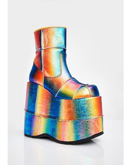 Rainbow Soul Stomper Stack Boots