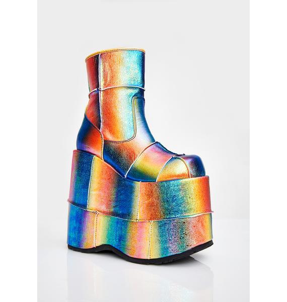 Demonia Rainbow Soul Stomper Stack Boots