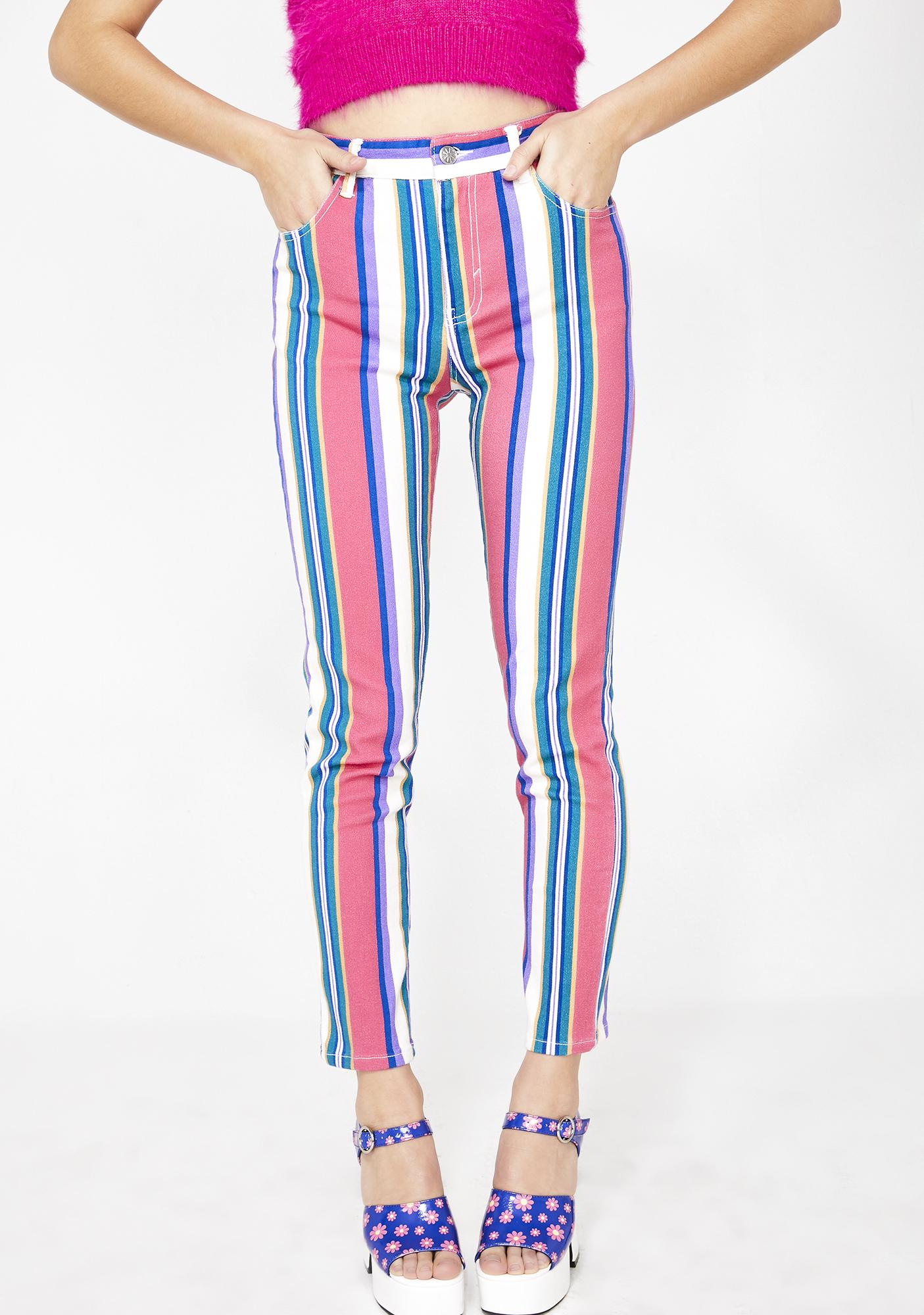 dELiA*s by Dolls Kill Pump Up The Jam Striped Jeans