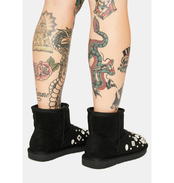 AZALEA WANG Cheyenne Rhinestone Ankle Boots