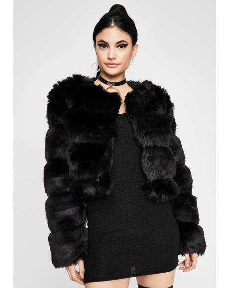 Noir Spoiled Sweetheart Faux Fur Jacket