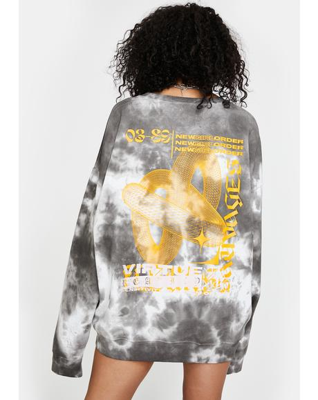 Tie Dye Virtue Graphic Sweatshirt