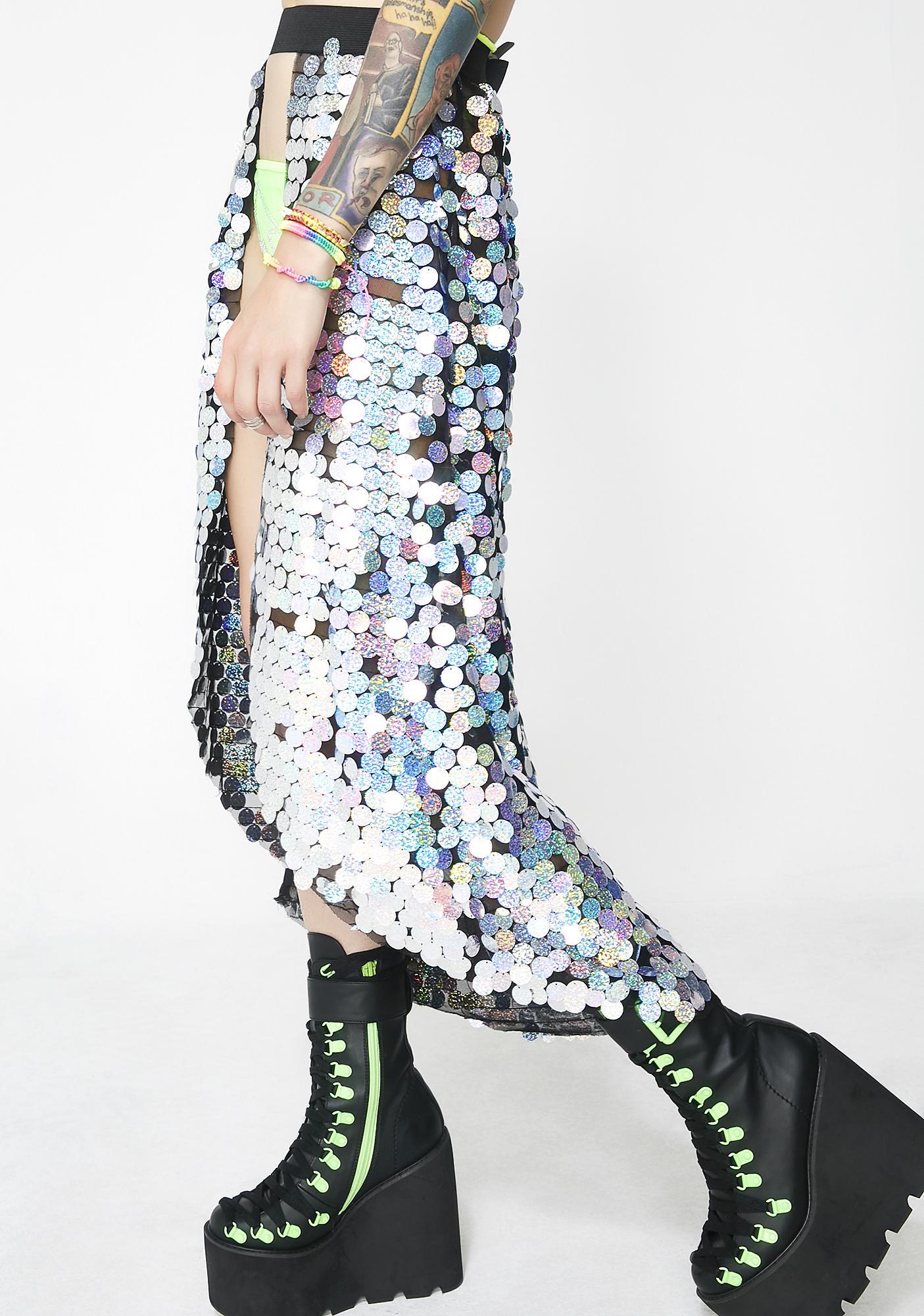 Jaded London Silver Sequin Beach Skirt