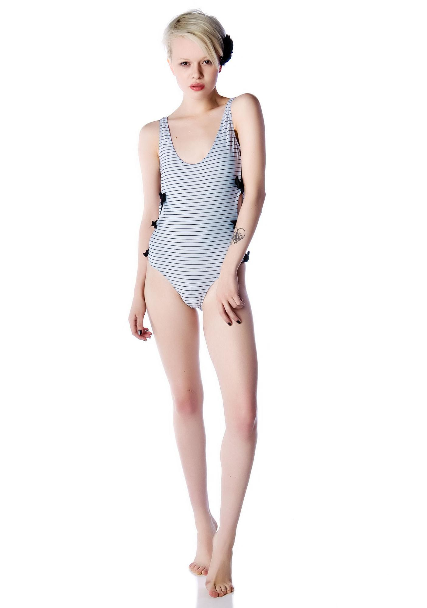 Lolli Swim I Love Rock and Roll Side Bow One Piece Swimsuit