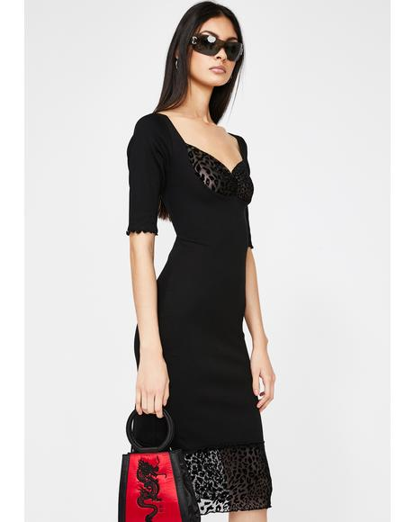 Black Li Bodycon Print Midi Dress
