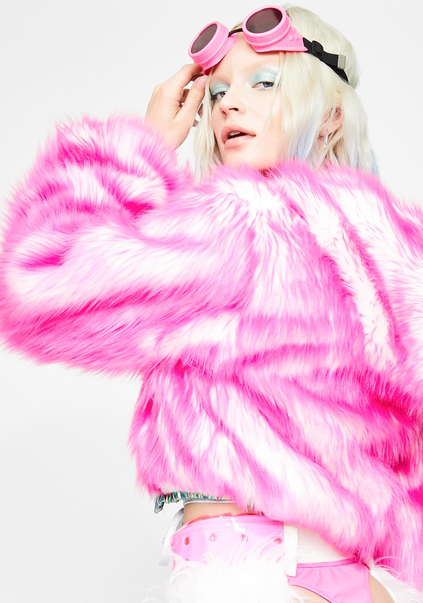 J Valentine Sugar Light-Up Aqua Tip Fur Crop Jacket