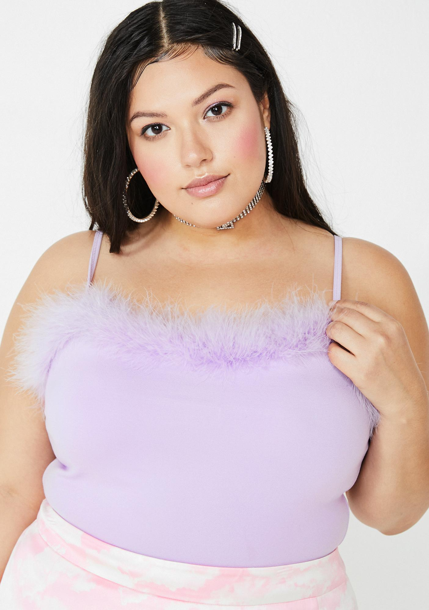 Sugar Thrillz Lux Lilac Dream Fantasy Marabou Tank
