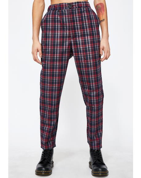 Lit Babe Takeover Plaid Trousers