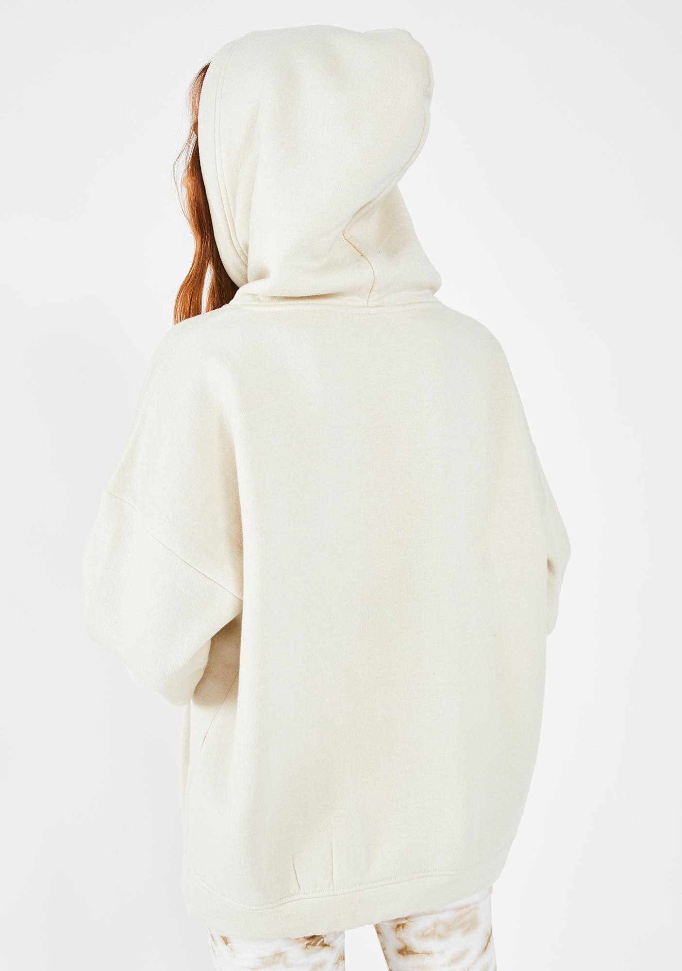 Public Desire Cream Oversized Pullover Hoodie