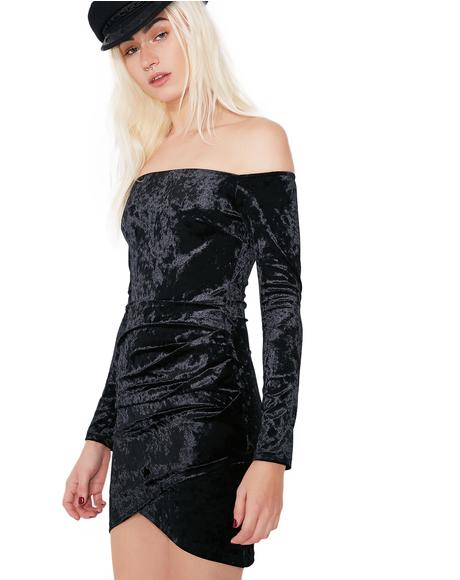 Mystery Girl Velvet Off-Shoulder Dress