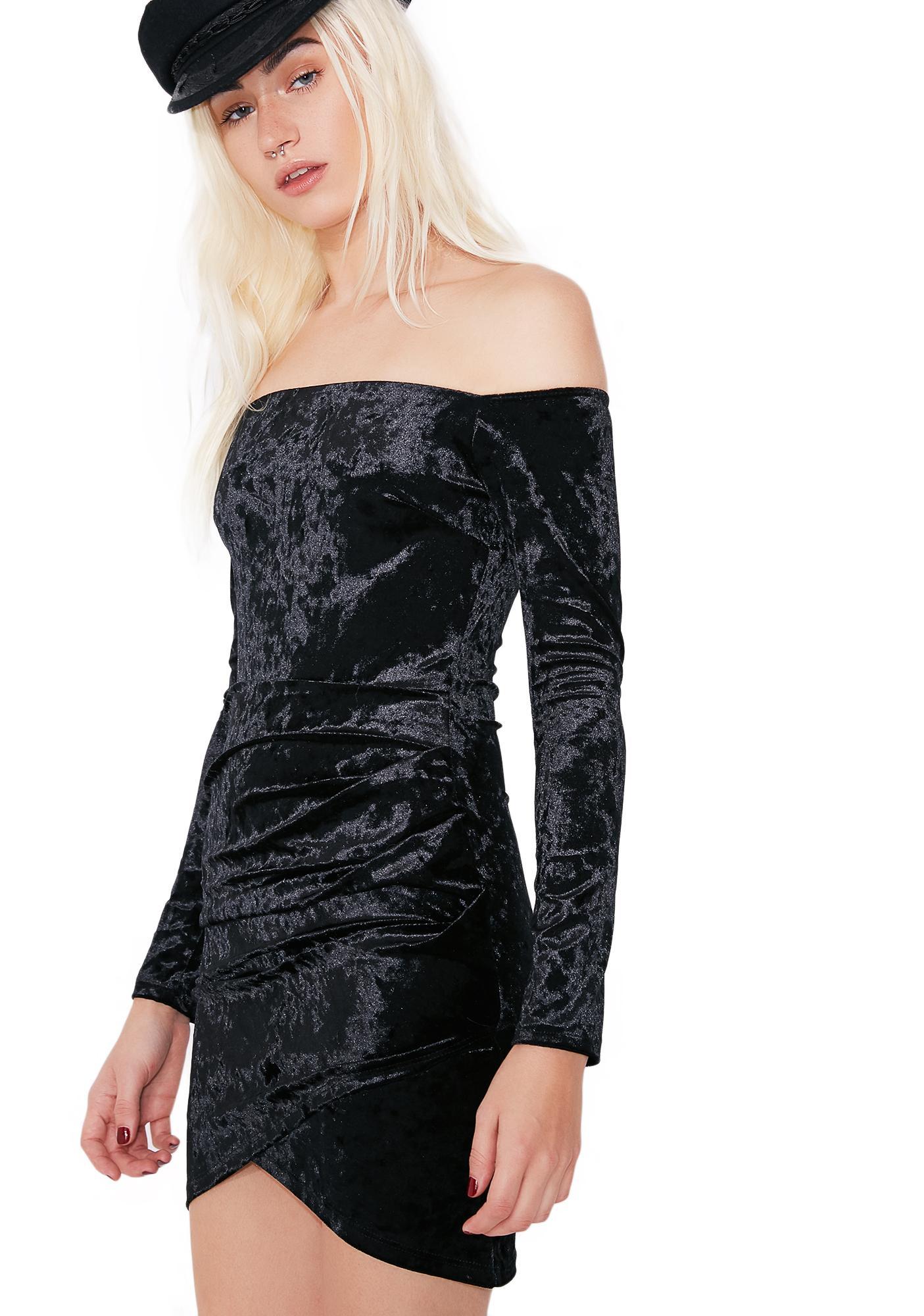 Mystery Girl Velvet Off-Shoulder Dress