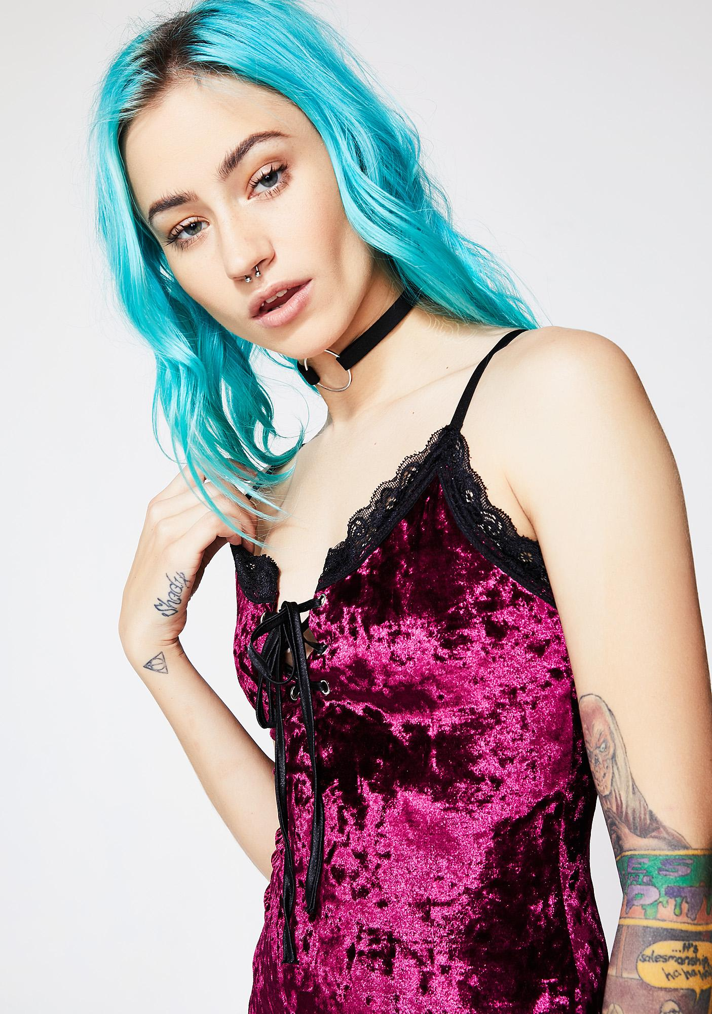 Current Mood Wine Velvet Crushin' Slip Dress