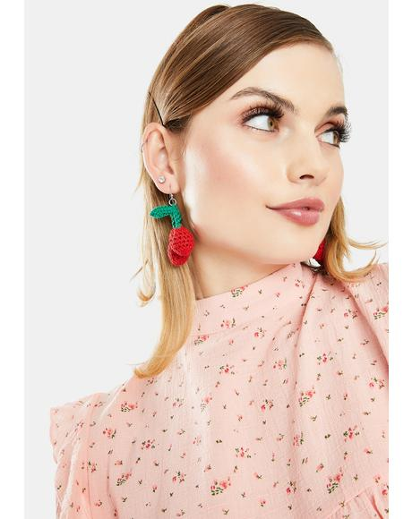 Fresh Trends Crochet Cherry Earrings