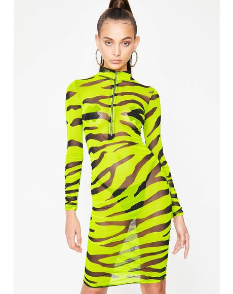 Cold Hearted Tiger Mesh Dress