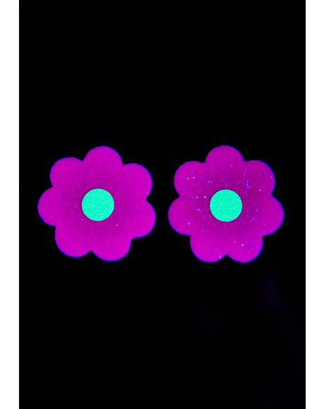 Flower Sparkle UV Reactive Pasties