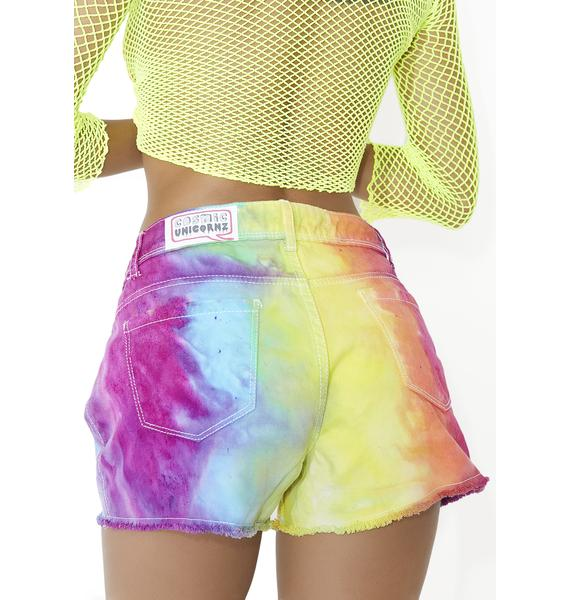 Cosmic Unicornz Rainbow Denim Shorts