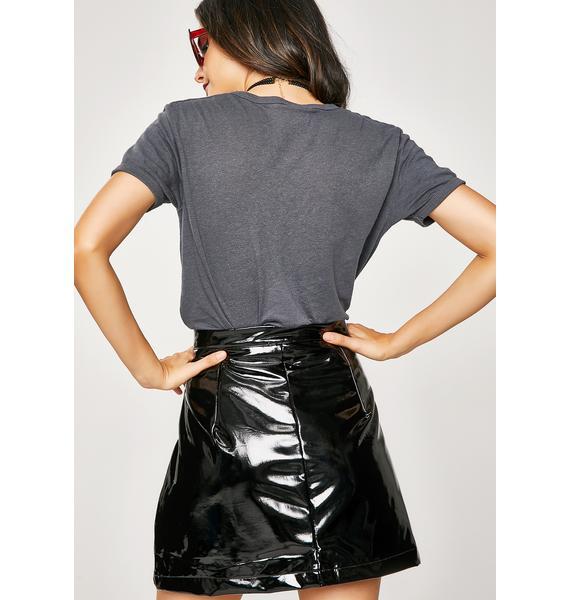 Onyx Warning Signs Vinyl Skirt