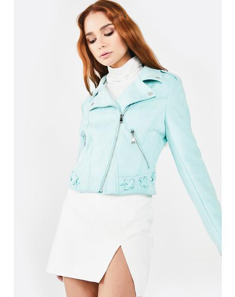 Mint Faux Suede Moto Jacket
