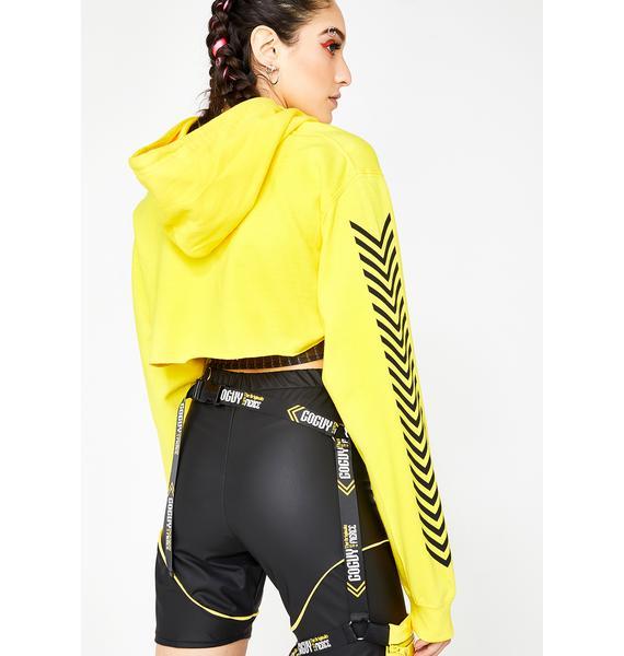 GoGuy Zero Fcks Yellow Super Crop Hoodie