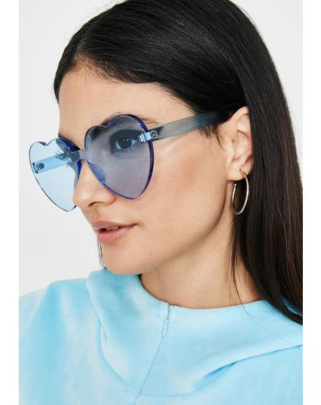 Sky Clearly In Lust Heart Sunglasses