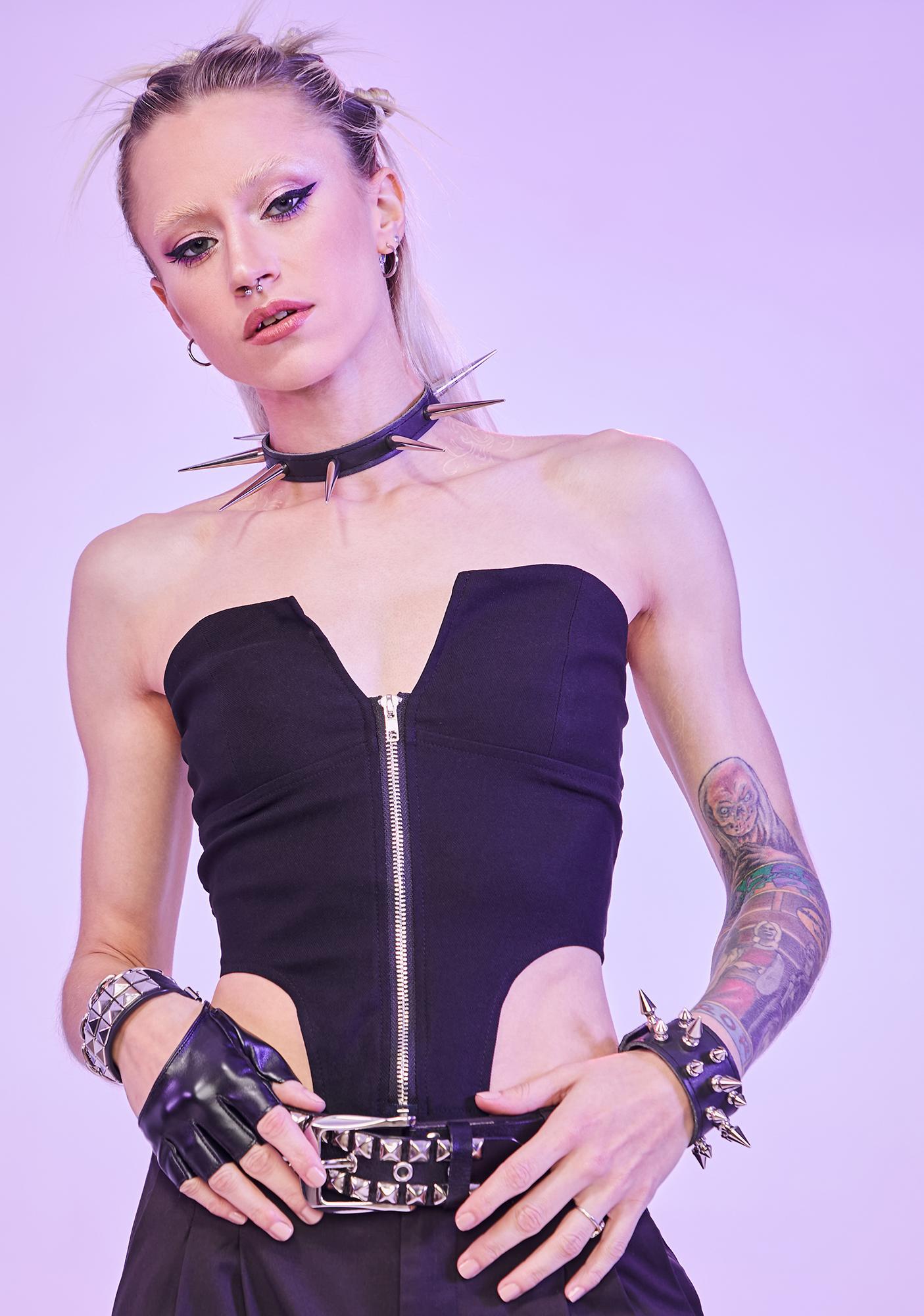 Captivating Queen Strapless Zip Up Corset Top