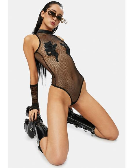 Bad Luck Dragon Fishnet Bodysuit