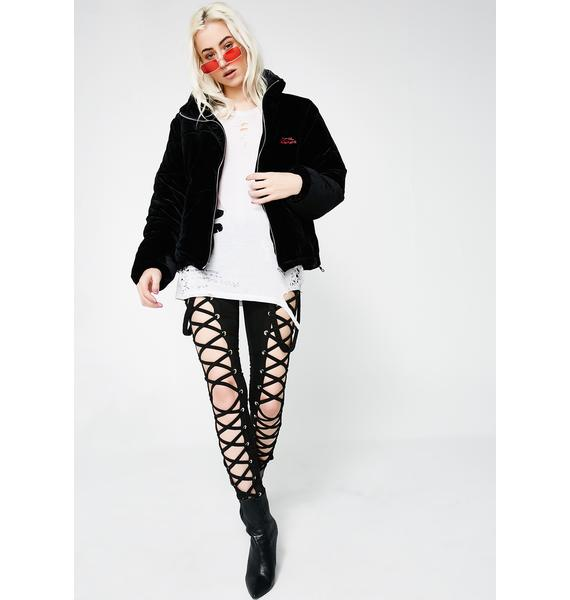 Local Heroes Rose On Fire Black Velvet Puff Jacket
