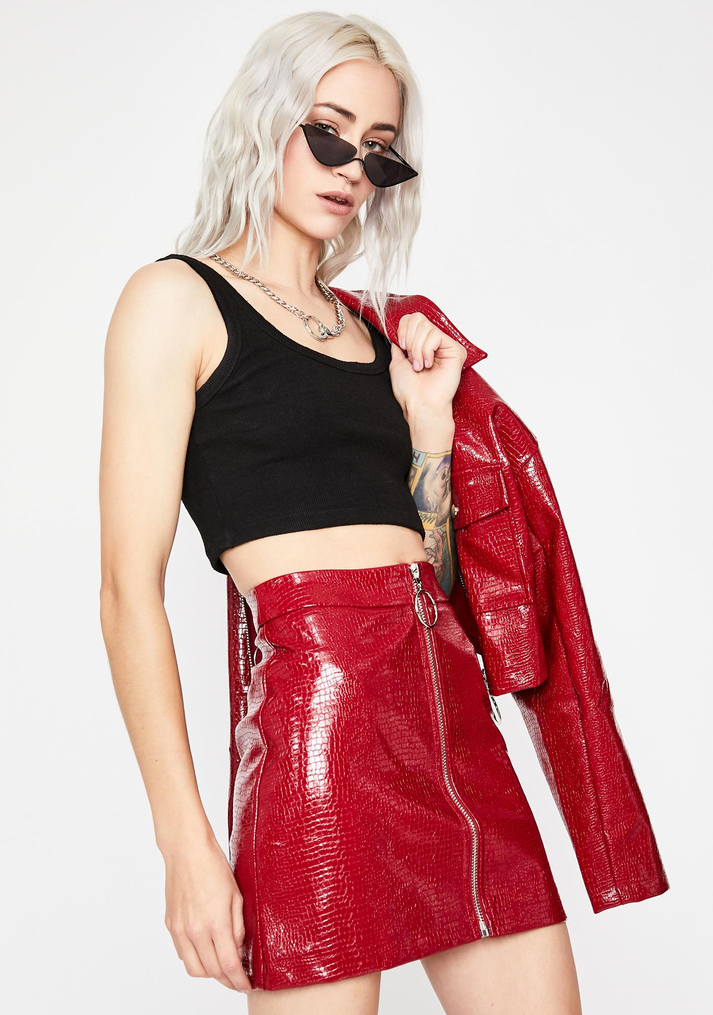 Lethal Cherry Patent Skirt