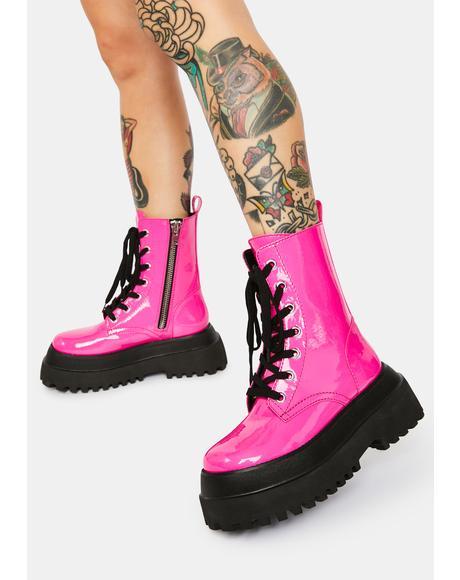 Bubblegum Wishes Patent Combat Boots