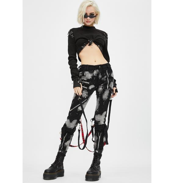 Tripp NYC Bleach And Stud Bondage Pants