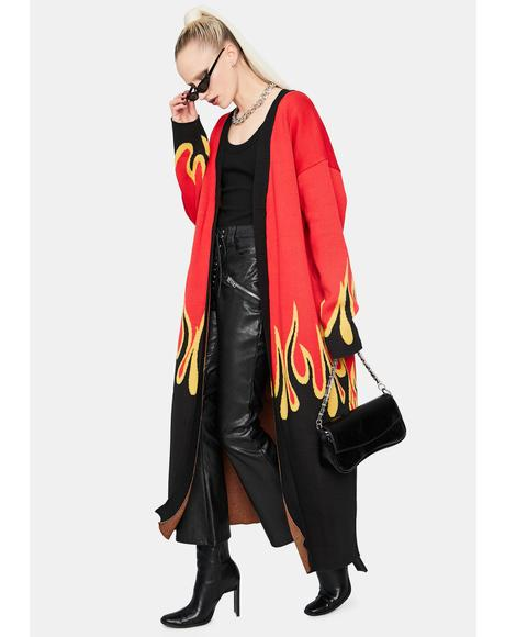Let It Burn Long Flame Print Cardigan