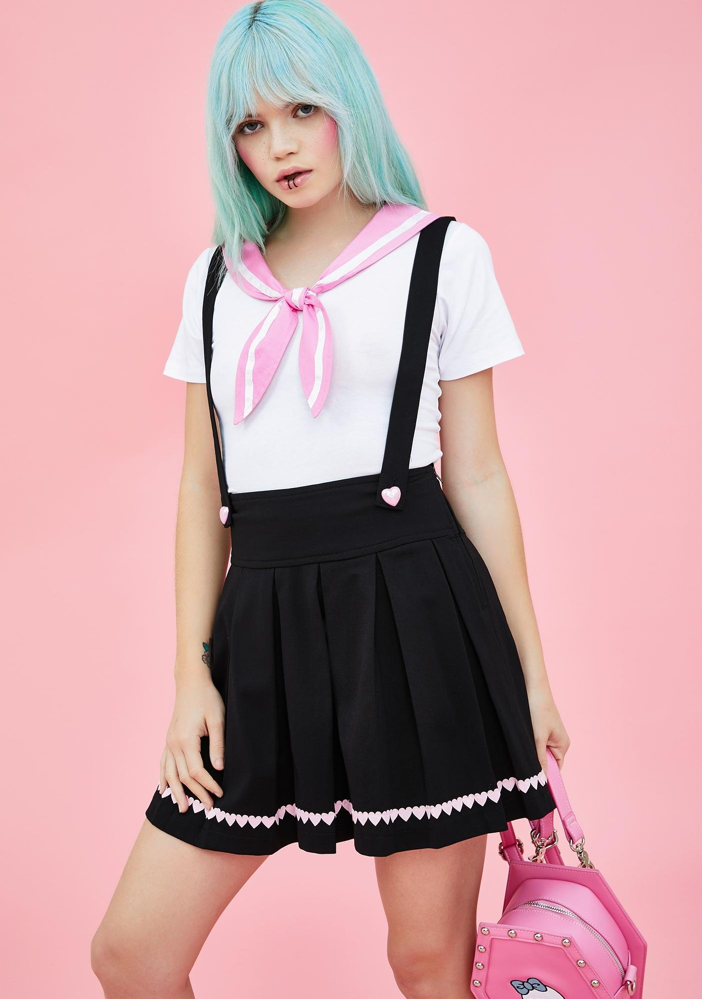 997ba1a8da Sugar Thrillz Pleated Mini Skirt Suspenders Hearts Black | Dolls Kill